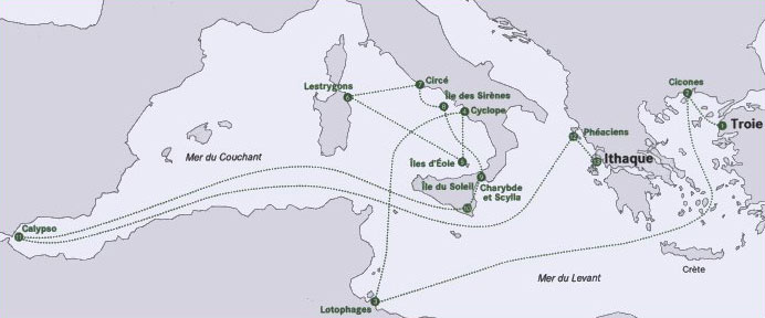 Carte de l'Odyssée d'Ulysse