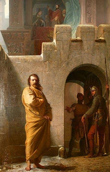 Henri à Canossa, par Eduard Schwoiser (1826 — 1902)