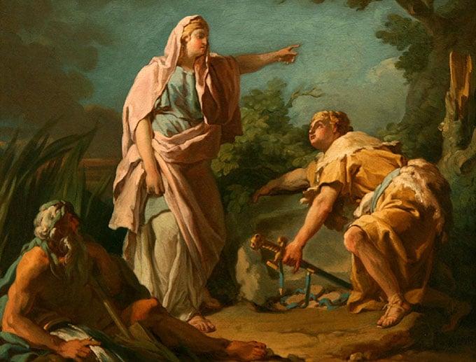 Aithra montrant à Thésée le rocher de son père