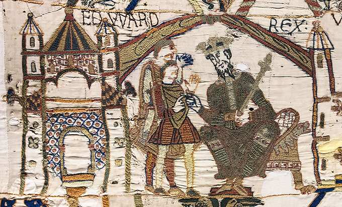 tapissereie-Bayeux-scene1-Harold-Godwinson-et-edouard-le-confesseur