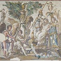 Jugement du mont Ida, mosaïque de sol, v. 110-150, villa de l'Atrium, Antioche.