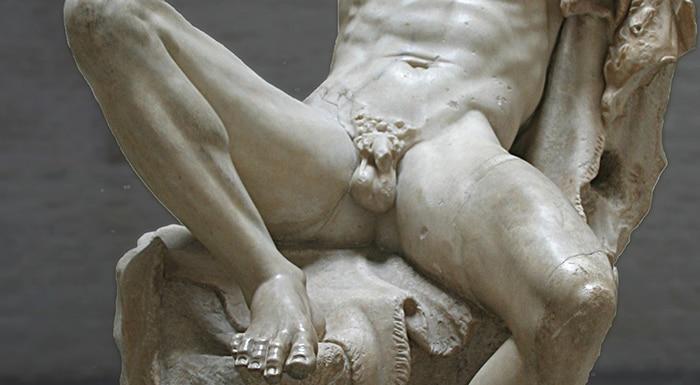Vue partielle du Satyre endormi : le Faune Barberini