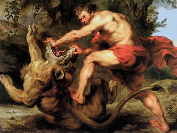 Samson broyant les machoires du lion, Rubens, 1628