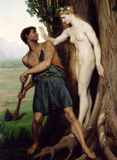 Le Bûcheron et l'Hamadryade Aïgeïros, par Émile Bin (1870)