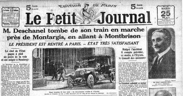 Paul Deschanel tombe du train - Une du Petit Journal