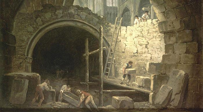 Violation des caveaux royaux de Saint-Denis, par Hubert Robert (huile sur toile au Musée Carnavalet)