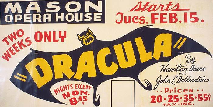 Affiche d'une production américaine de Dracula par Hamilton Deane et John L. Balderston