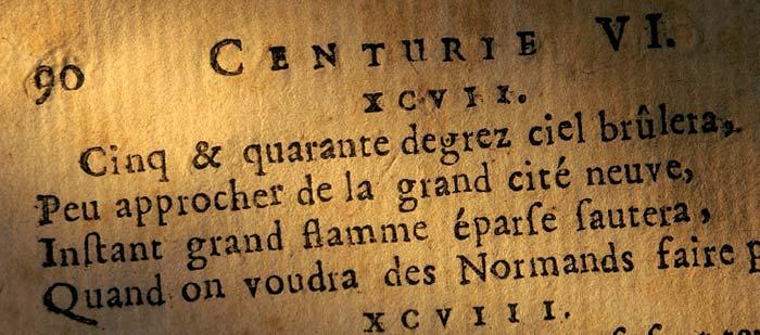Exemple de quatrain dans les Prophéties de Nostradamus