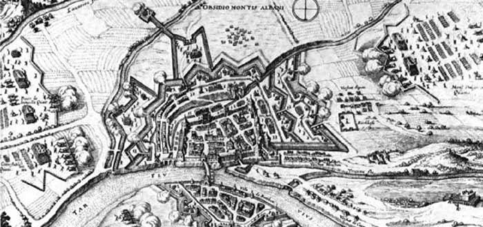 Plan d'époque de la ville de Montauban