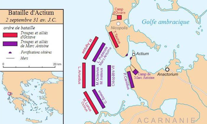 Carte de la bataille d'Actium