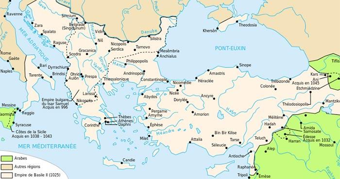 Carte de l'empire byzantin à la mort de Basile II