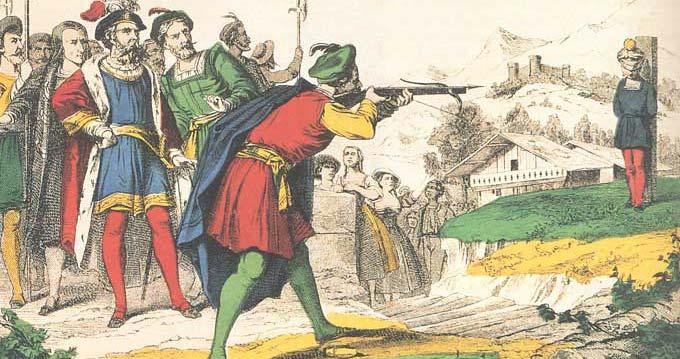 Guillaume Tell visant la pomme placée sur la tête de son fils