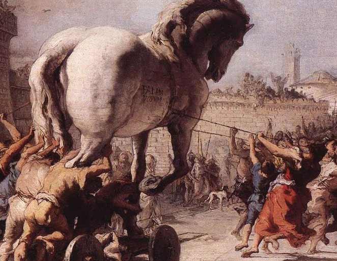 La Procession du cheval dans Troie, par Tiepolo