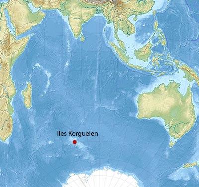 Localisation des îles Kerguelen dans l'Océan Indien