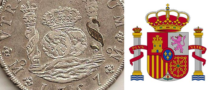 Pièce de 8 réals et armoiries espagnoles - Origine du symbole du dollar