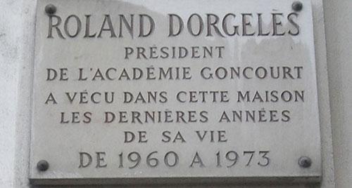 Plaque Roland Dorgelès