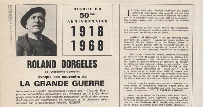 Roland Dorgelès, souvenirs de la Grande Guerre