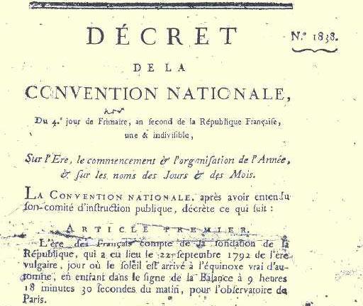 décret de la Convention nationale pour l'instauration du calendrier républicain