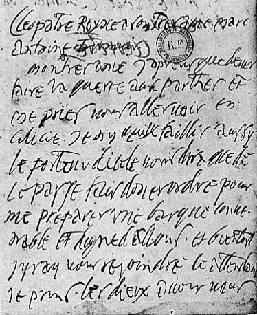 Lettre de Cléopatre à Marc-Antoine