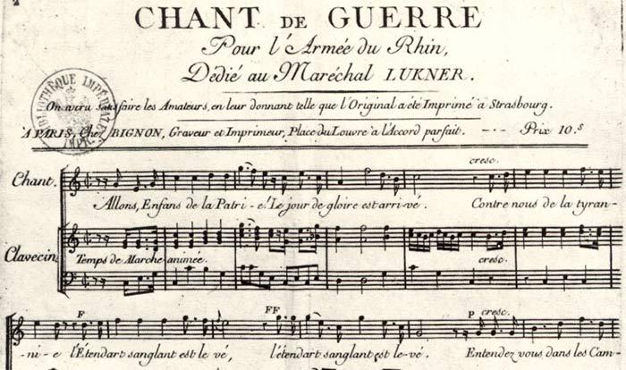 Partition originale du Chant de Guerre pour l'armée du Rhin