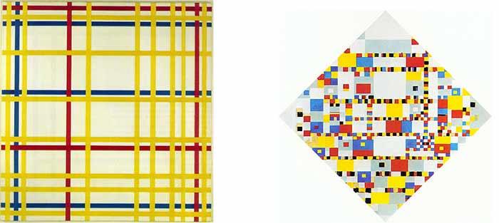New-York City et Victory boogie-Woogie de Piet Mondrian