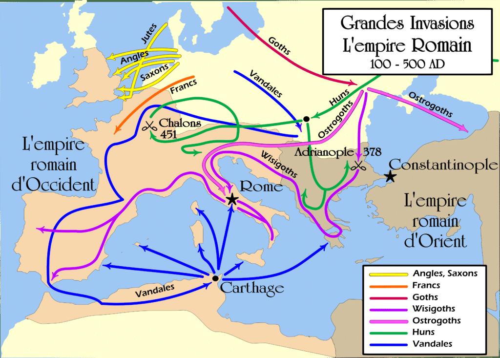 Les barbares mettent l'empire romain sous pression