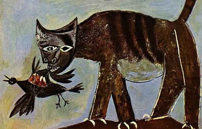 Picasso-chat-saisissant-un-oiseau
