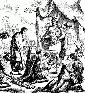 Romulus Augustule dépose ses armes aux pieds d'Odoacre