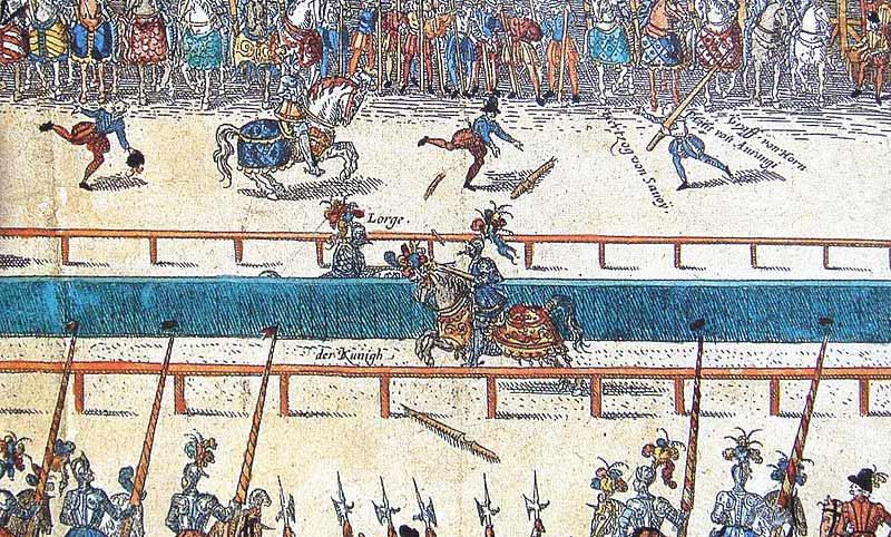 Le tournoi fatal à Henri II, peinture allemande du XVIe siècle