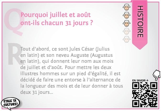carte007 - Histoire - pourquoi juillet et aout ont 31 jours