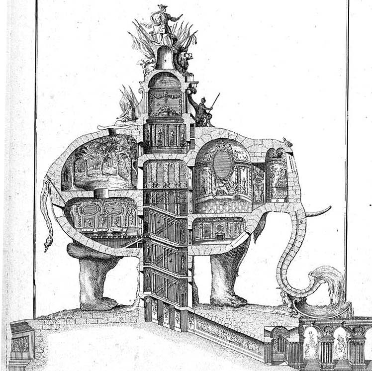 L'éléphant triomphal de l'architecte Ribart
