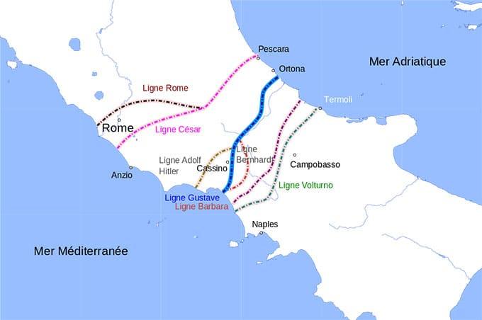 La ligne Gustave coupant l'Italie en deux