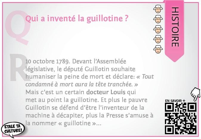 carte027 - Histoire - Qui a inventé la guillotine