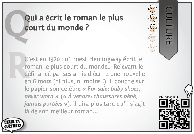 carte028 - Culture - Qui a écrit le roman le plus court du monde