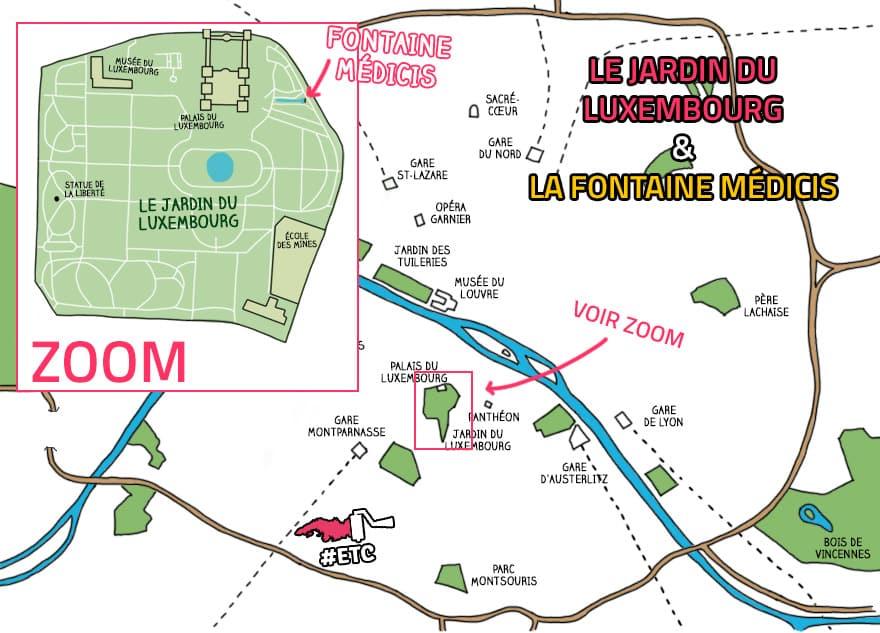 carte-paris-fontaine-medicis-jardin-du-luxembourg