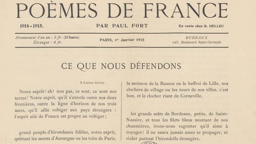 Poème de France, revue dirigée par Paul Fort pendant la première Guerre Mondiale