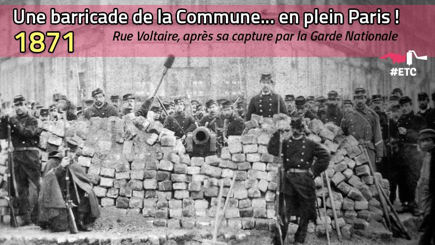 Une barricade de la Commune en plein Paris