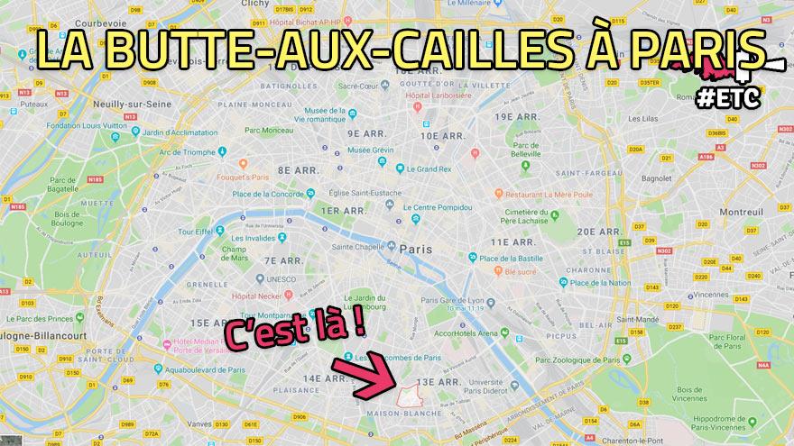 Plan de la Butte-aux-Cailles au sein de Paris
