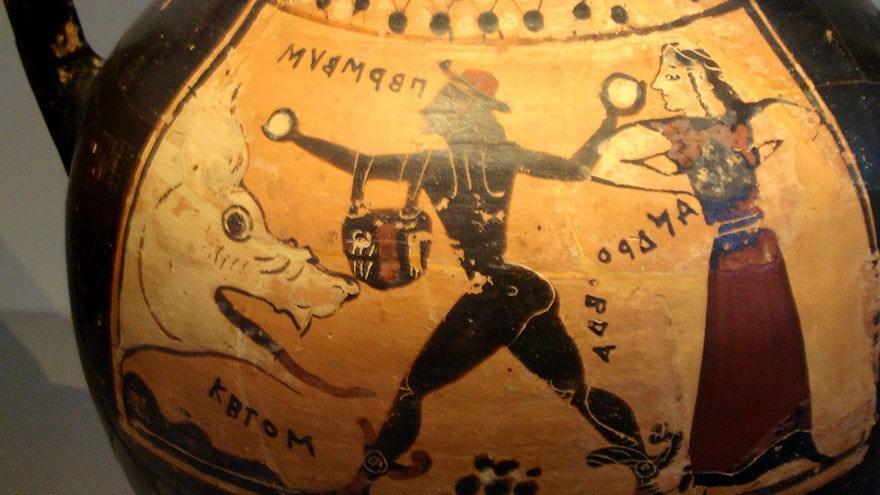 Persée délivrant Andromède du monstre marin, vase corinthien, Altes Museum de Berlin