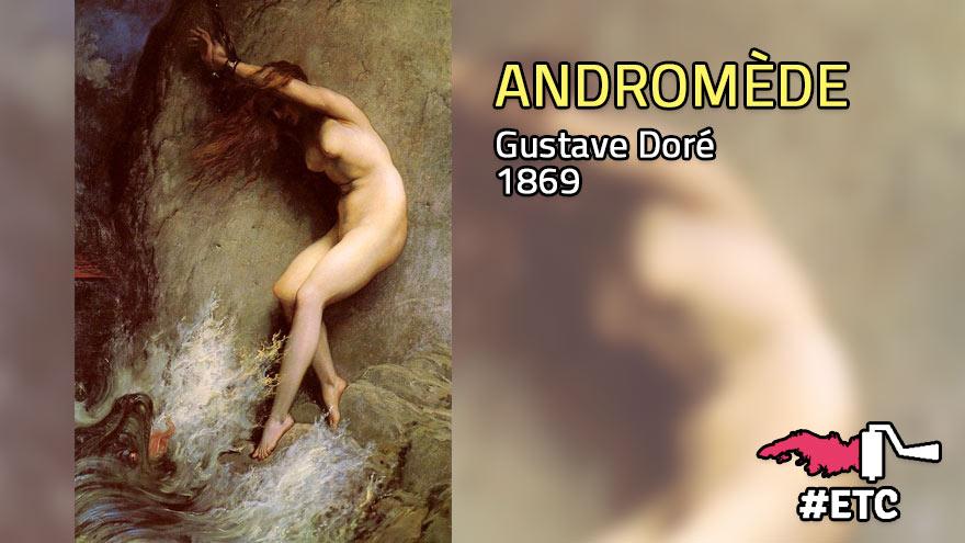 Persée va délivrer une jeune femme enchaînée : Andromède, Gustave Doré
