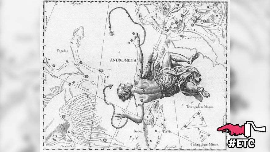 Constellation d'Andromède représentée dans l'Atlas Coelestis (1690) aux cotés de la constellation de Persée