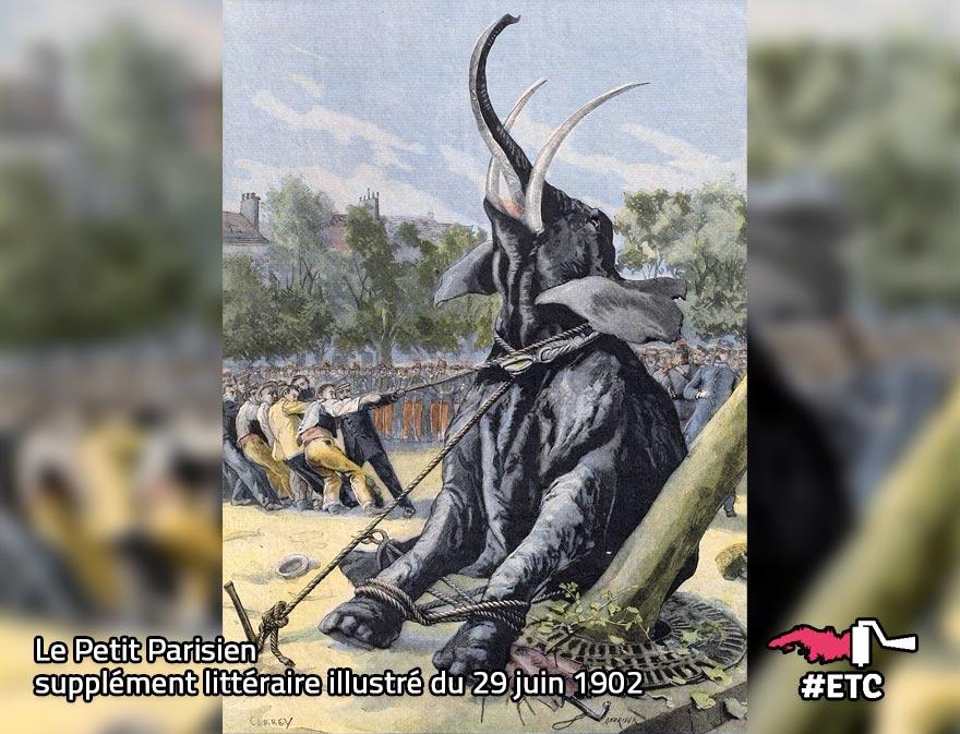 Illustration de la mort de Fritz l'éléphant dans Le Petit Parisien